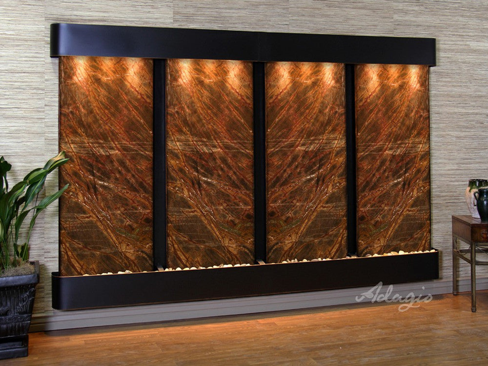 Regal Falls - Rainforest Brown Marble - Blackened Copper - Rounded Corners - Soothing Walls