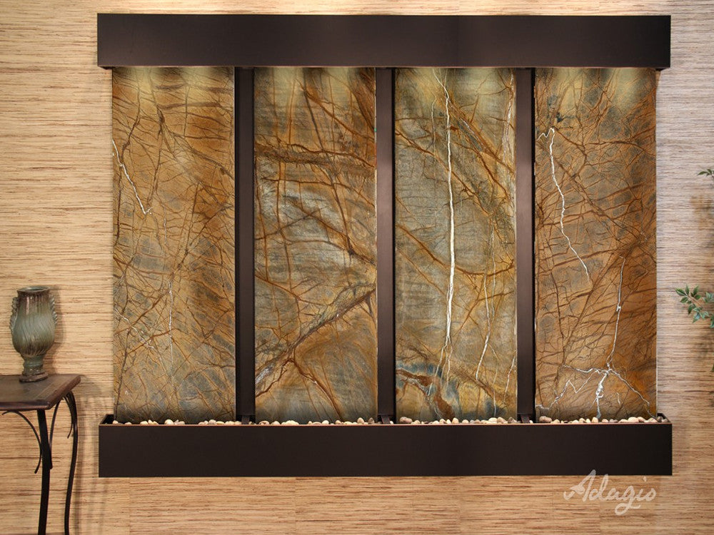 Regal Falls: Rainforest Brown Marble and Blackened Copper Trim with Squared Corners