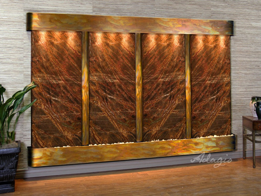 Regal Falls:  Rainforest Brown Marble and Rustic Copper Trim with Rounded Corners