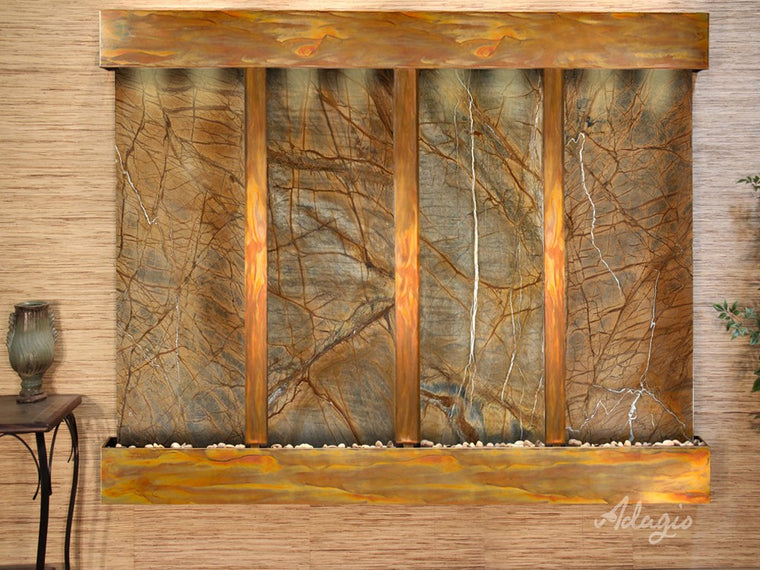 Regal Falls: Rainforest Brown Marble and Rustic Copper Trim with Squared Corners