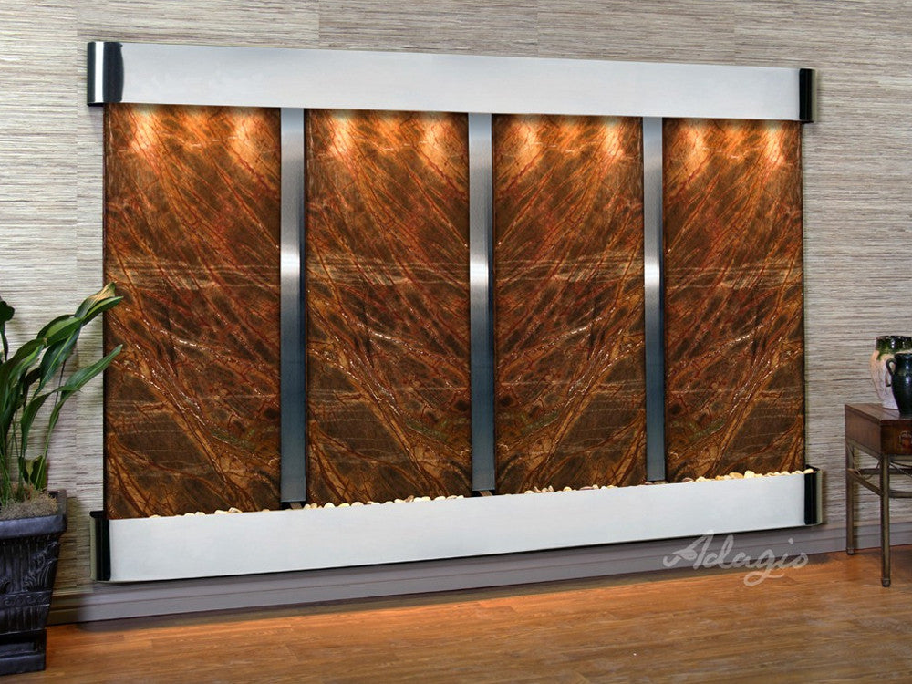 Regal Falls - Rainforest Brown Marble - Stainless Steel - Rounded Corners - Soothing Walls