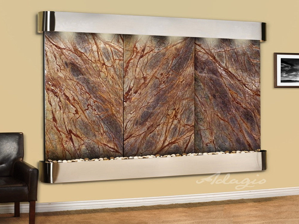 Regal Falls: Rainforest Brown Marble and Stainless Steel Trim with Squared Corners