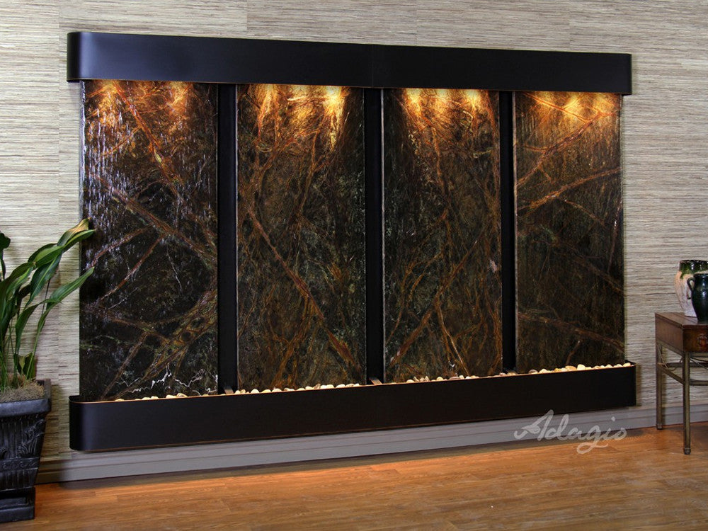 Regal Falls - Rainforest Green Marble - Blackened Copper - Rounded Corners - Soothing Walls