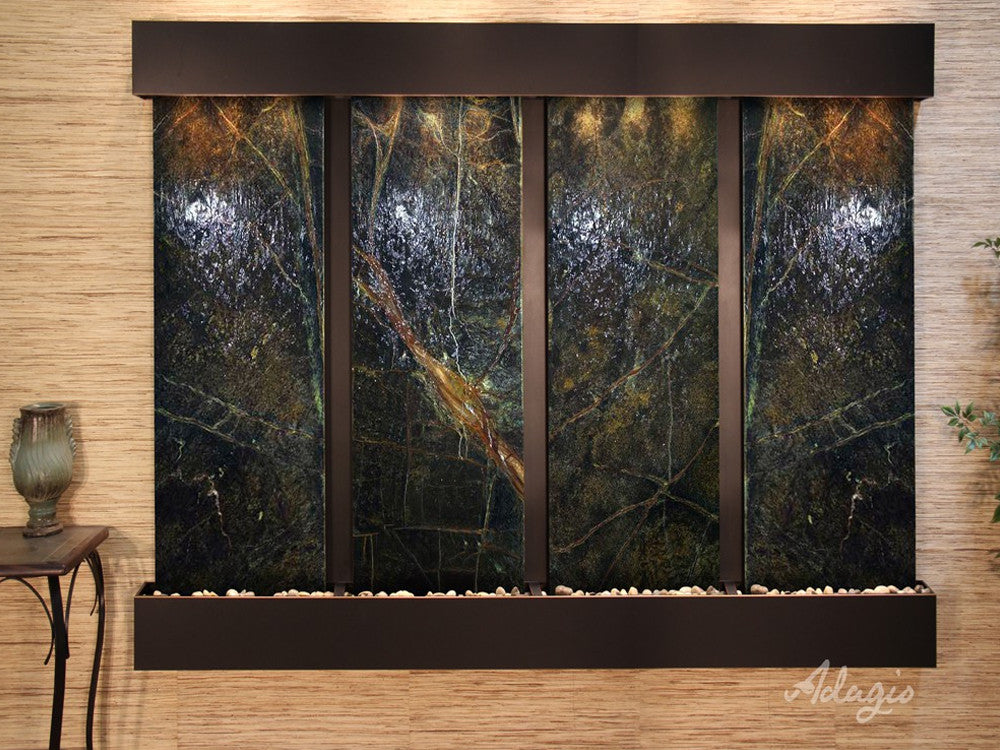 Regal Falls: Rainforest Green Marble and Blackened Copper Trim with Squared Corners