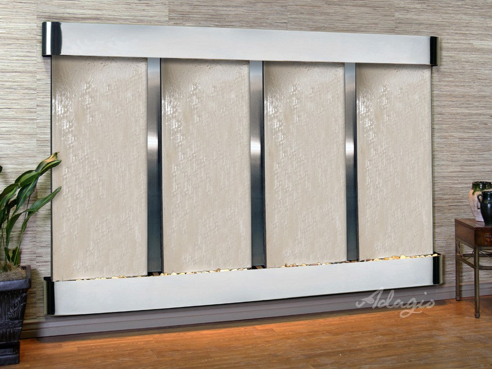 Regal Falls: Silver Mirror and Stainless Steel Trim  with Rounded Corners