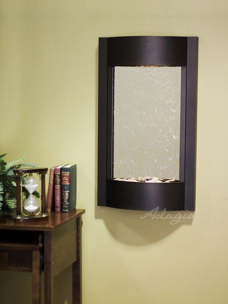 Serene Waters: Silver Mirror with Antique Bronze Trim
