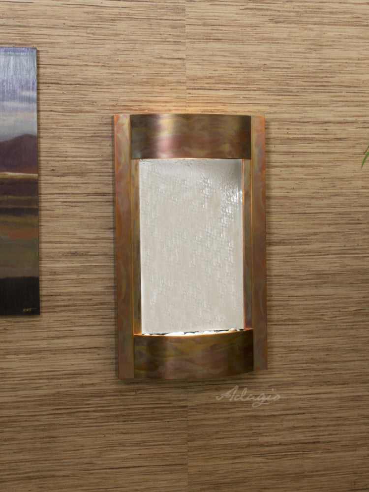 Serene Waters: Silver Mirror with Rustic Copper Trim