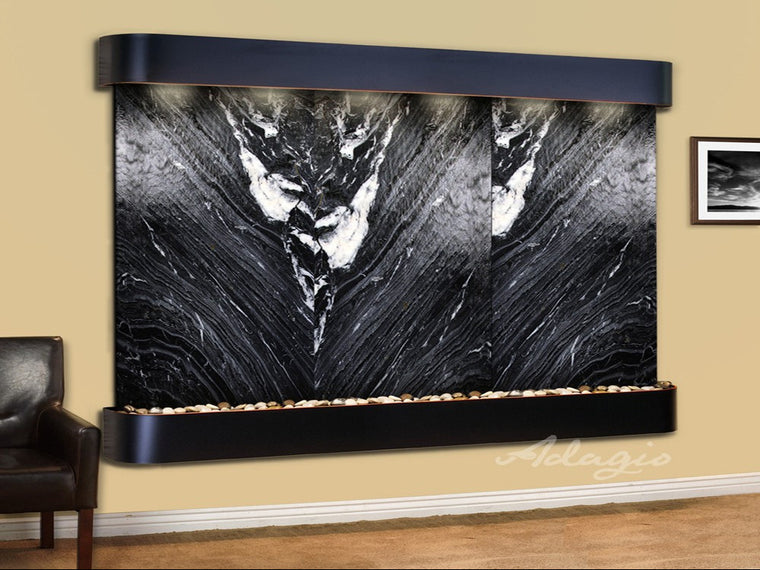 Solitude River: Black Spider Marble and Blackened Copper Trim with Rounded Corners