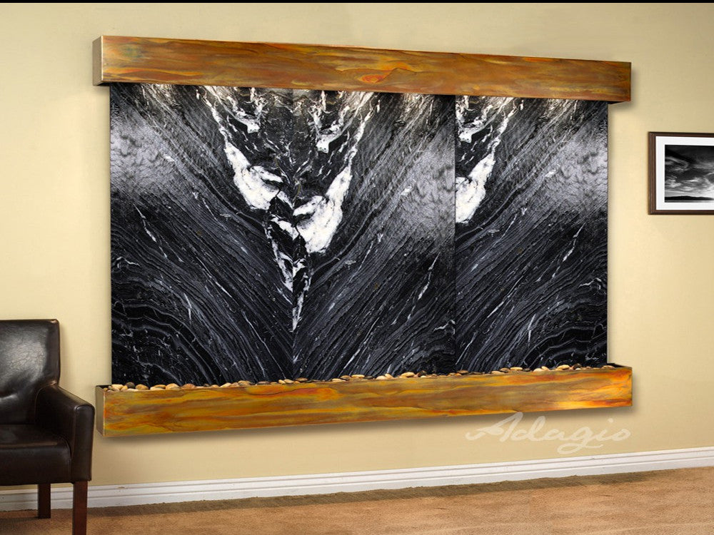 Solitude River: Black Spider Marble and Rustic Copper Trim with Squared Corners