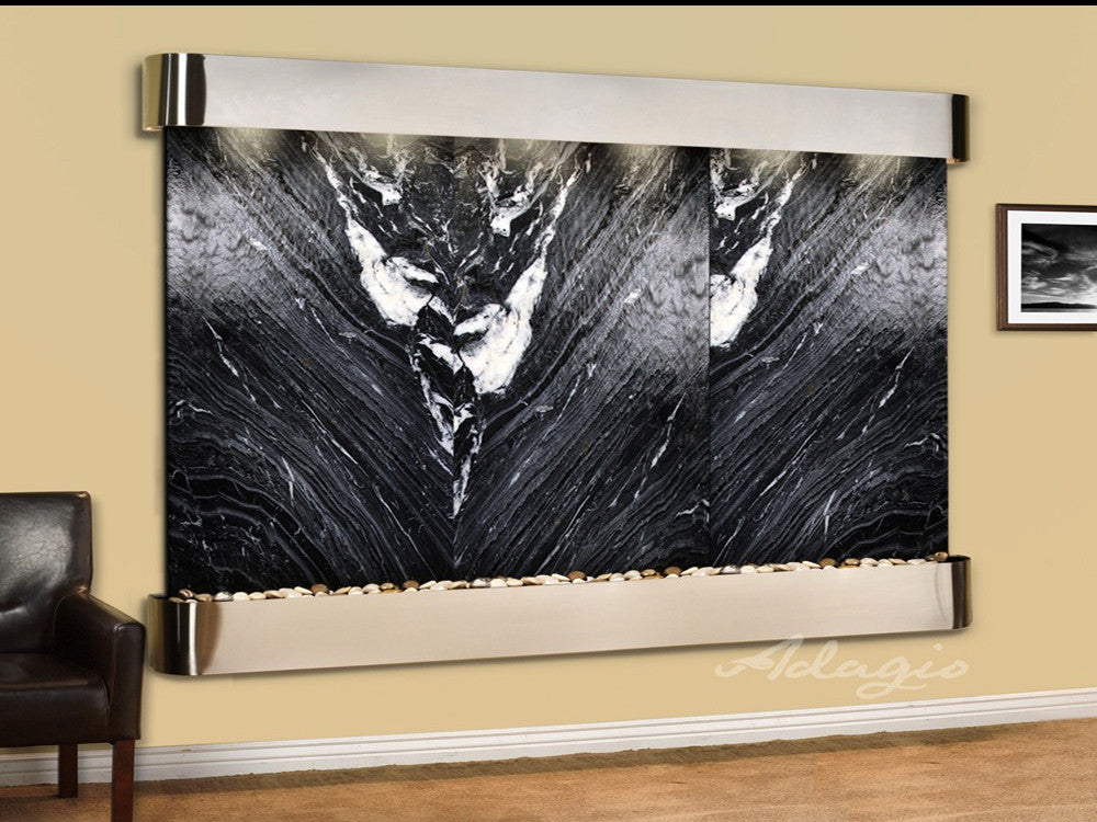 Solitude River: Black Spider Marble and Stainless Steel Trim with Rounded Corners