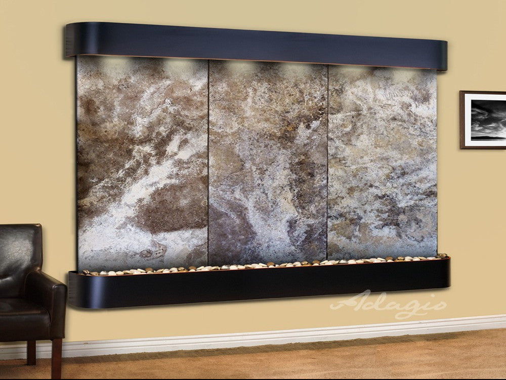 Solitude River: Magnifico Travertine and Blackened Copper Trim with Rounded Corners