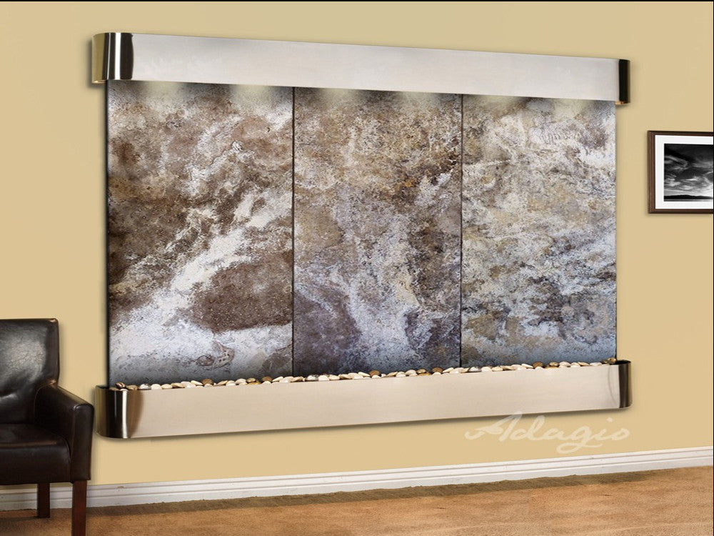 Solitude River - Magnifico Travertine - Stainless Steel - Rounded Corners - Soothing Walls