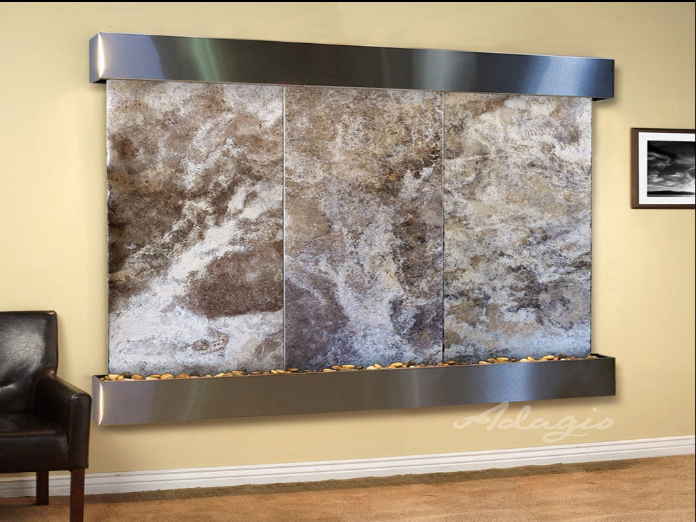 Solitude River: Magnifico Travertine and Stainless Steel Trim with Squared Corners