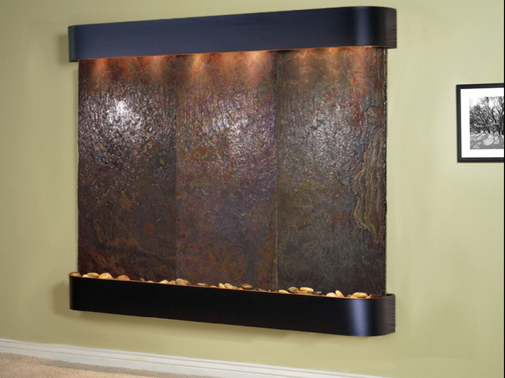 Solitude River - Multi-Color Slate - Blackened Copper - Rounded Corners - Soothing Walls