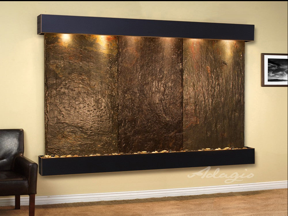 Solitude River - Multi-Color Slate - Blackened Copper - Squared Corners - Soothing Walls