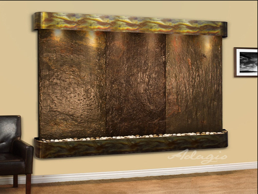 Solitude River: Multi-Color Slate and Rustic Copper Trim with Rounded Corners