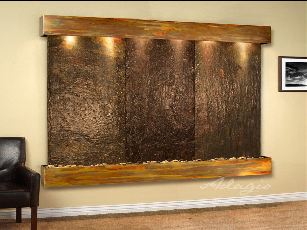 Solitude River: Multi-Color Slate and Rustic Copper Trim with Squared Corners
