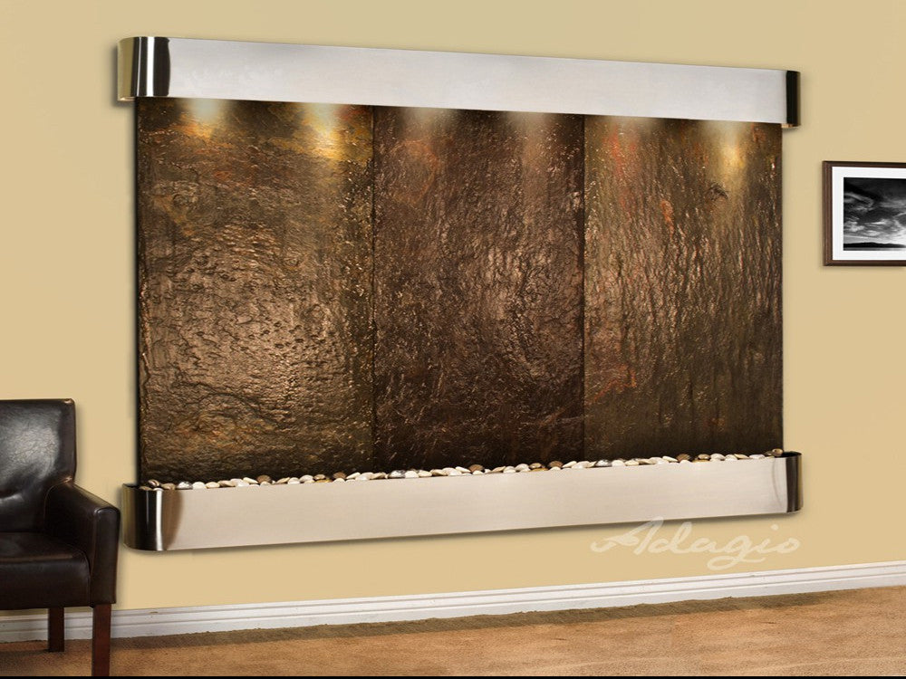 Solitude River - Multi-Color Slate - Stainless Steel - Rounded Corners - Soothing Walls