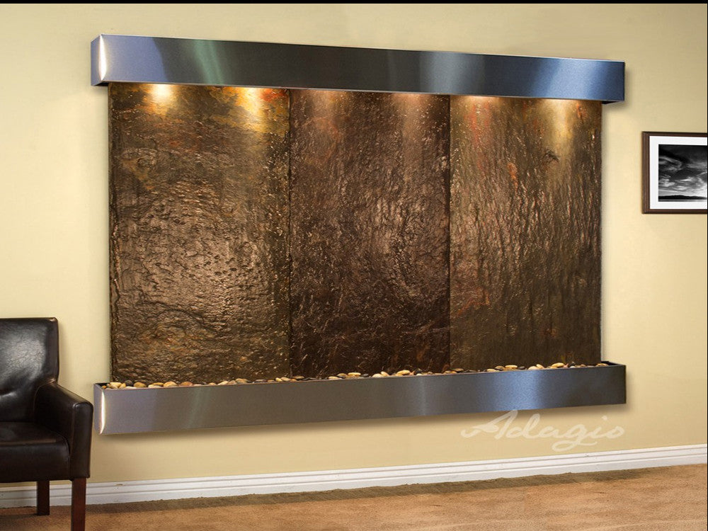 Solitude River - Multi-Color Slate - Stainless Steel - Squared Corners - Soothing Walls