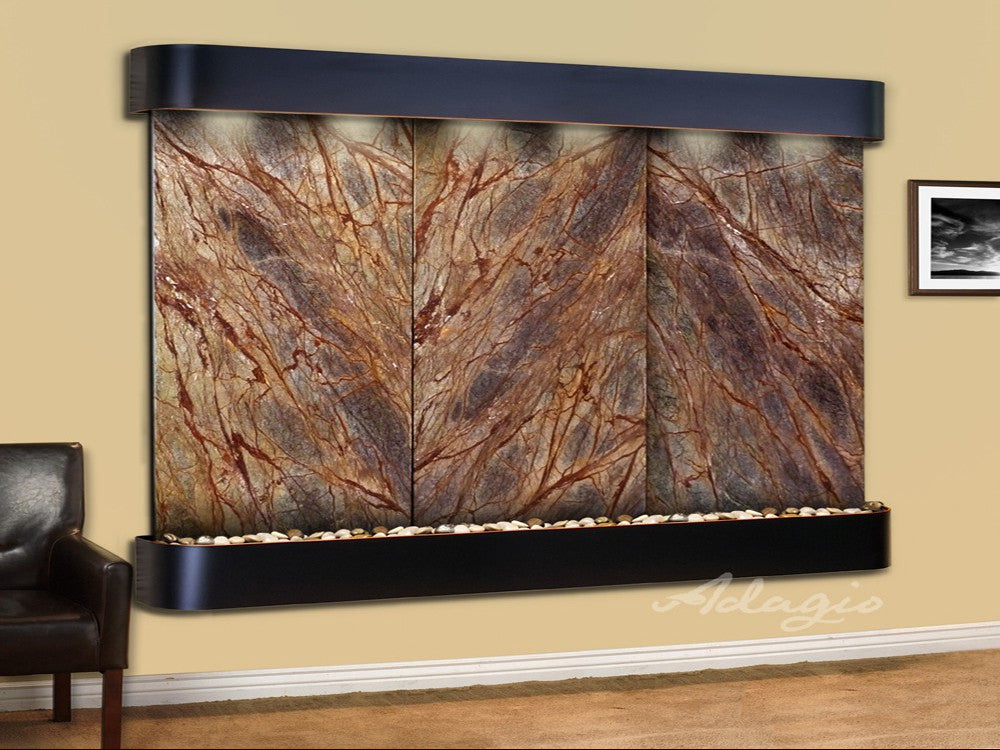Solitude River: Rainforest Brown Marble and Blackened Copper Trim with Rounded Corners