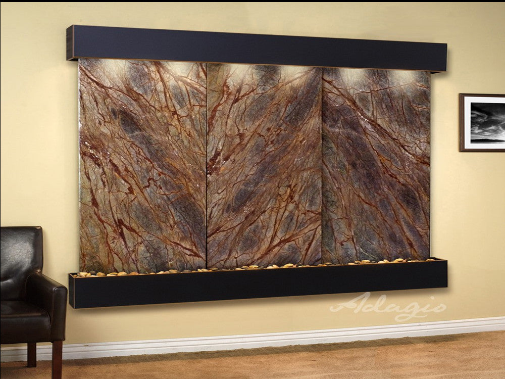 Solitude River - Rainforest Brown Marble - Blackened Copper - Squared Corners - Soothing Walls