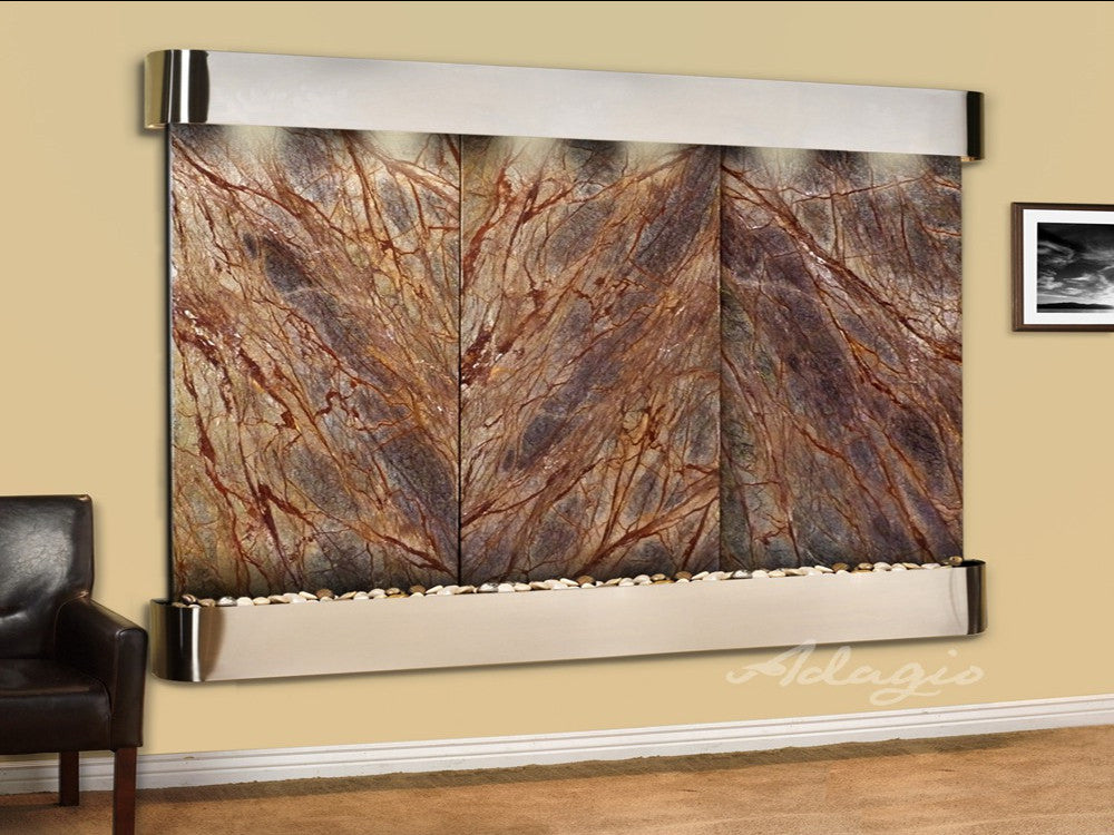Solitude River - Rainforest Brown Marble - Stainless Steel - Rounded Corners - Soothing Walls
