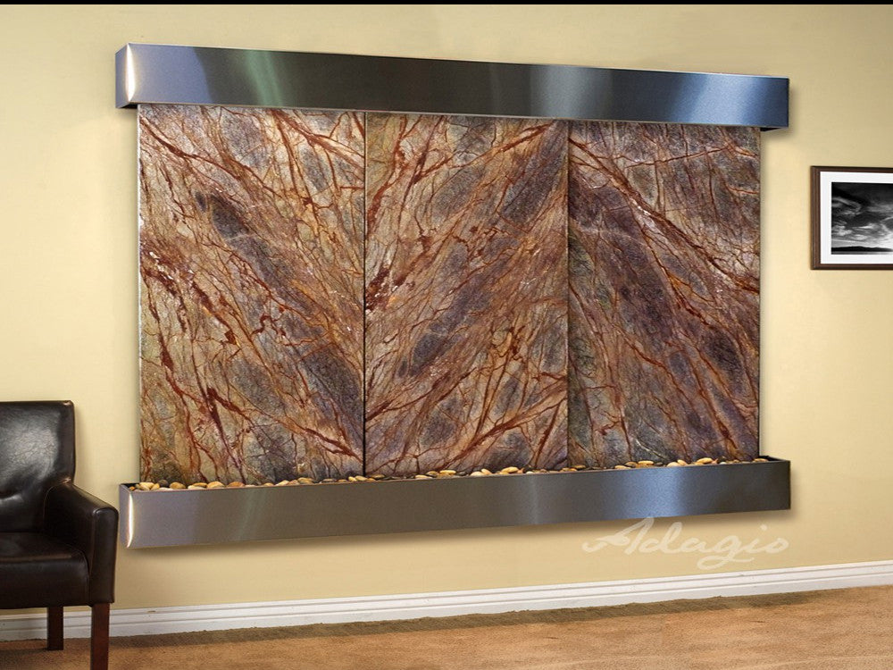 Solitude River: Rainforest Brown Marble and Stainless Steel Trim with Squared Corners