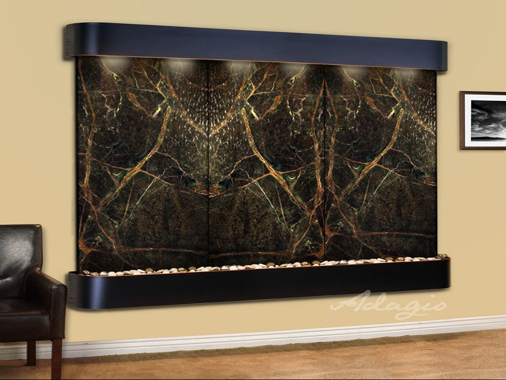 Solitude River: Rainforest Green Marble and Blackened Copper Trim with Rounded Corners