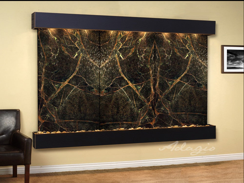 Solitude River: Rainforest Green Marble and Blackened Copper Trim with Squared Corners