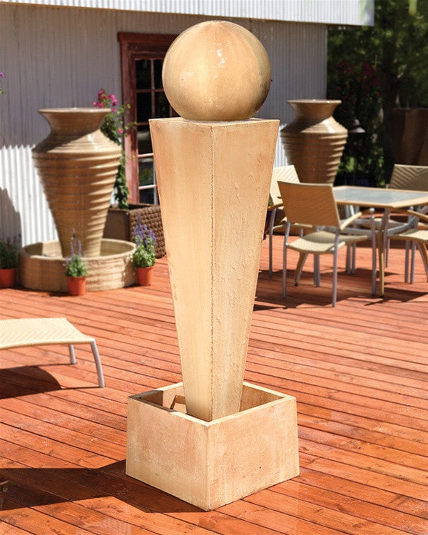 Spire Outdoor Fountain with Ball - Soothing Walls