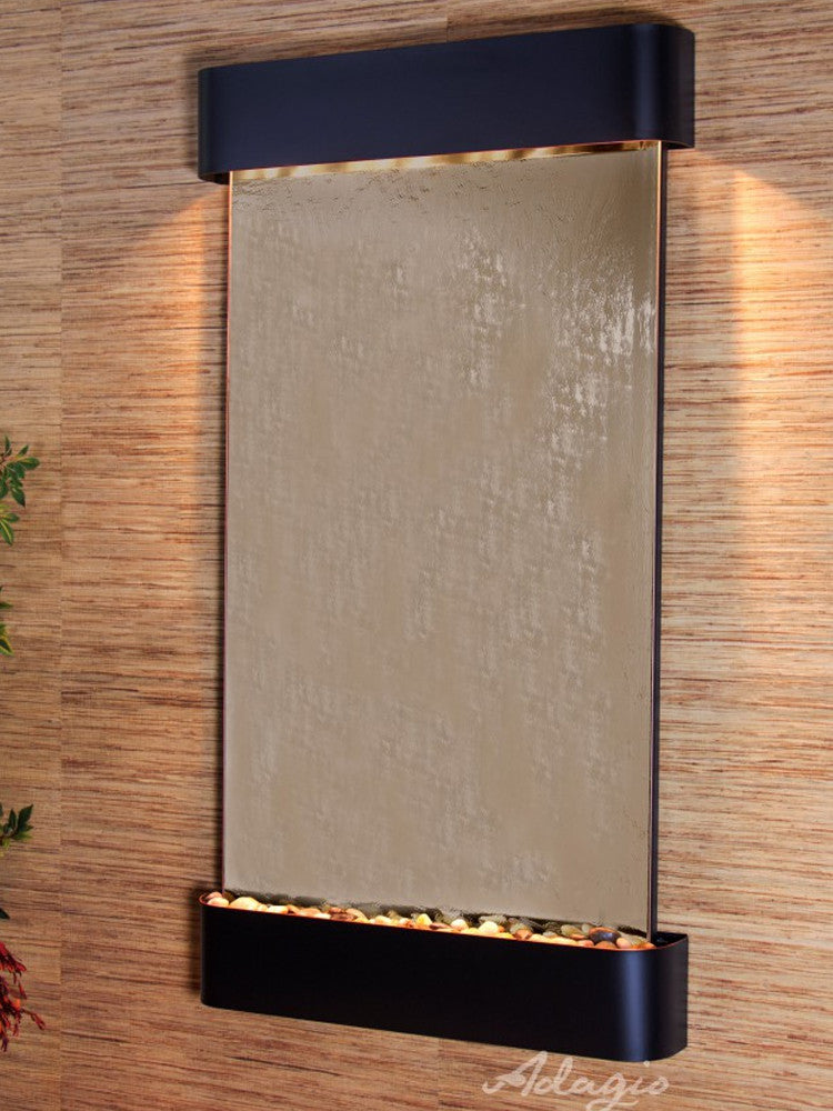 Summit Falls: Bronze Mirror and Blackened Copper Trim with Rounded Corners