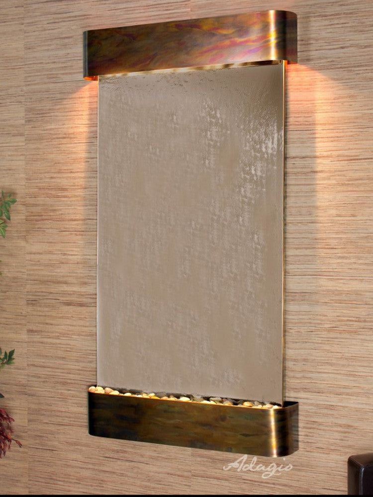 Summit Falls: Bronze Mirror and Rustic Copper Trim with Rounded Corners