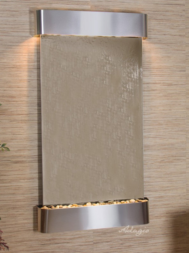 Summit Falls: Bronze Mirror and Stainless Steel Trim with Rounded Corners