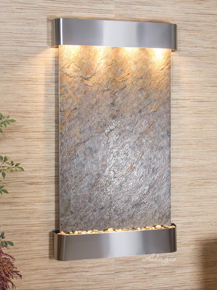 Summit Falls: Green FeatherStone and Stainless Steel Trim with Rounded Corners