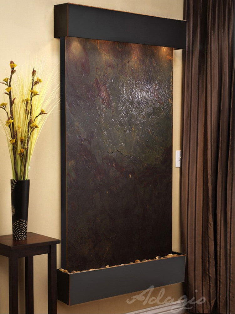 Summit Falls: Multi-Color FeatherStone and Blackened Copper Trim with Squared Corners
