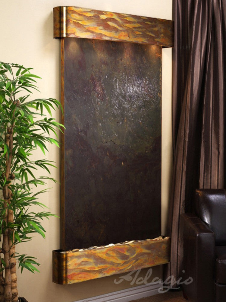 Summit Falls: Multi-Color FeatherStone and Rustic Copper Trim with Rounded Corners
