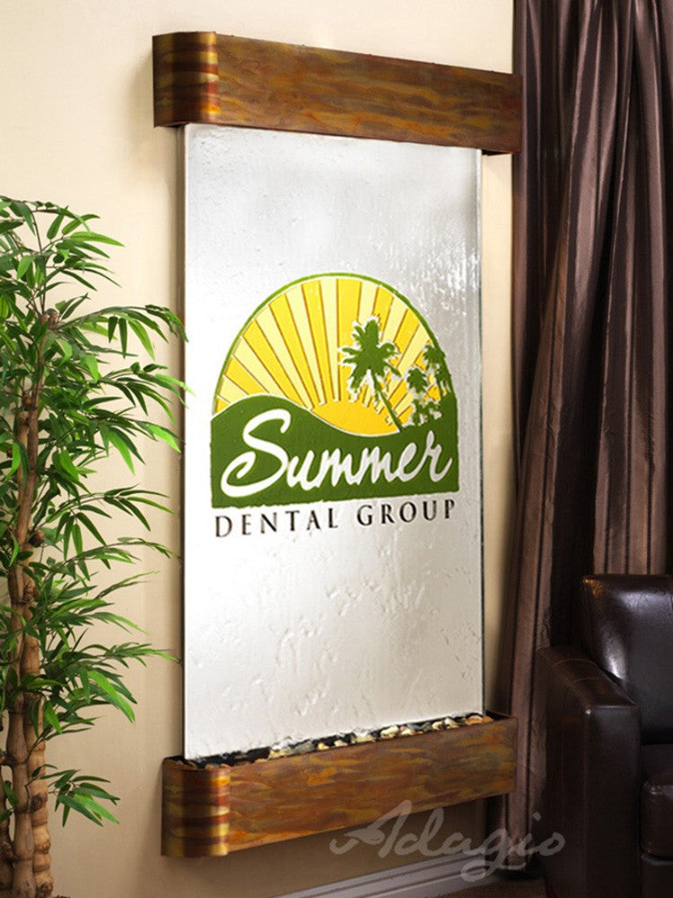 Summit Falls: Silver Mirror and Rustic Copper Trim with Rounded Corners