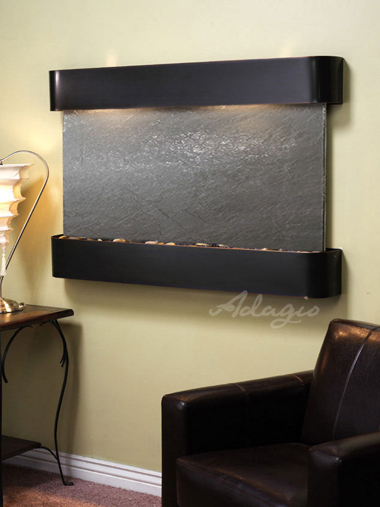 Sunrise Springs - Black FeatherStone - Blackened Copper - Rounded Corners - Soothing Walls