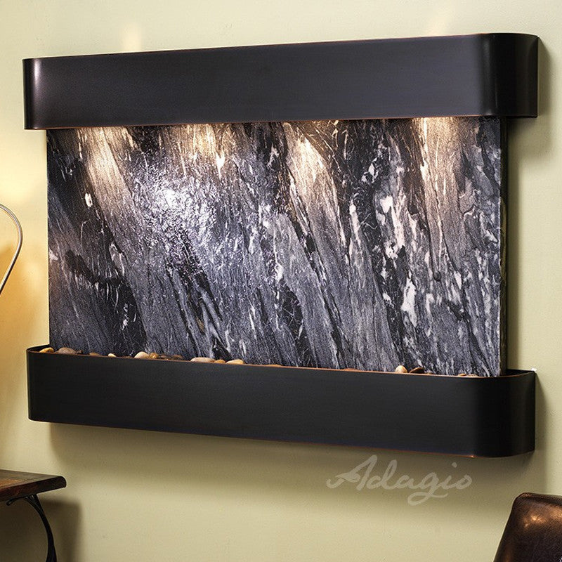 Sunrise Springs: Black Spider Marble and Blackened Copper Trim with Rounded Corners