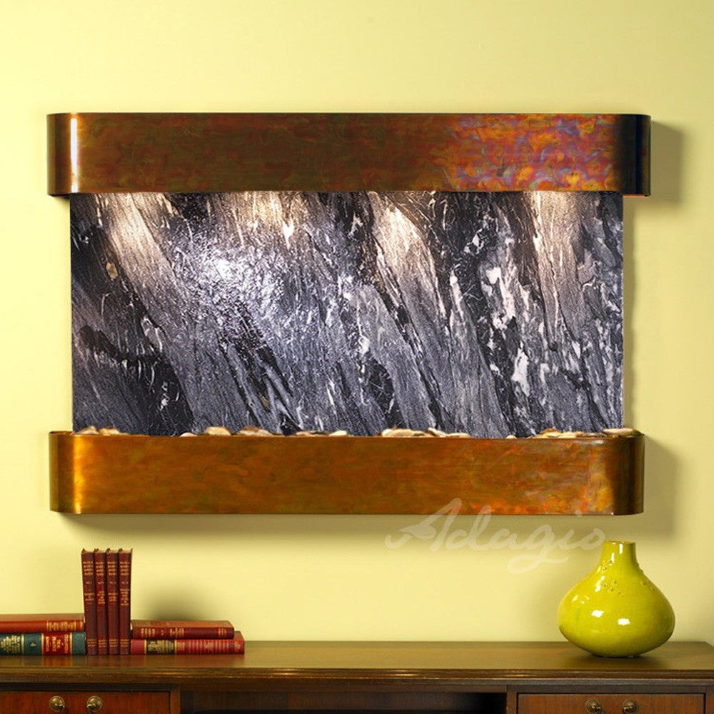 Sunrise Springs: Black Spider Marble and Rustic Copper Trim with Rounded Corners