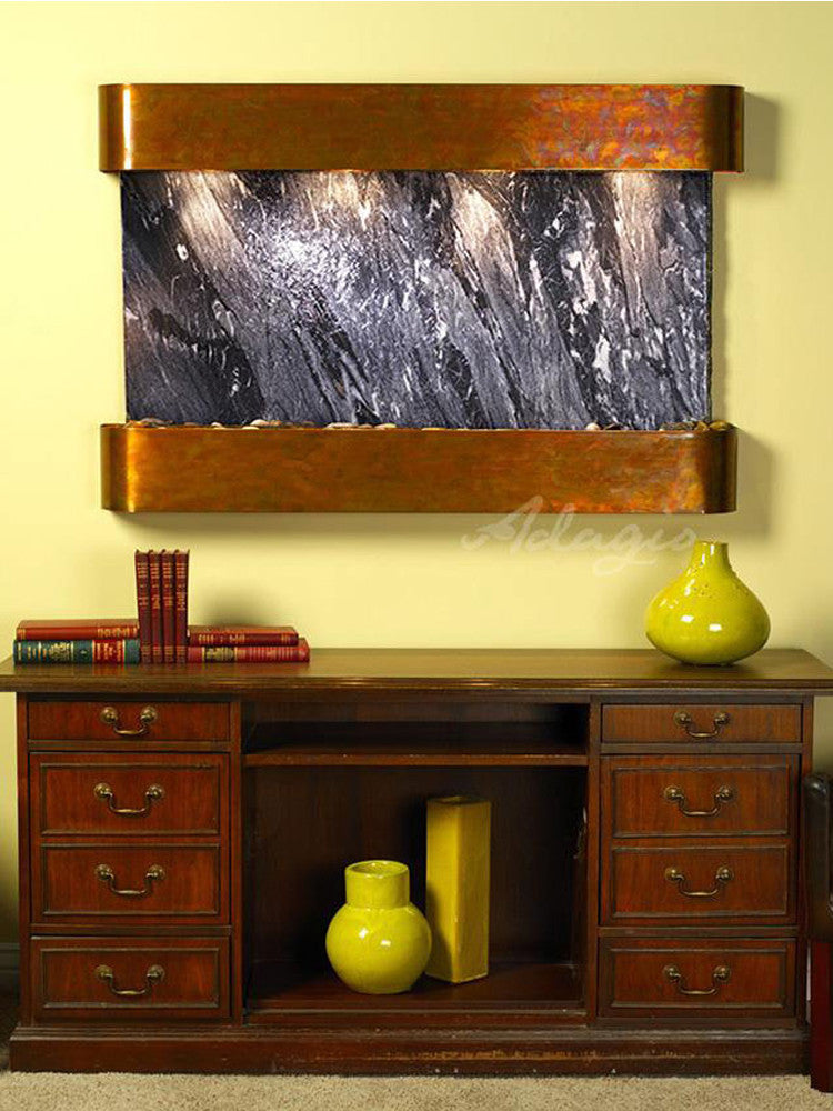 Sunrise Springs - Black Spider Marble - Rustic Copper - Rounded Corners - Soothing Walls