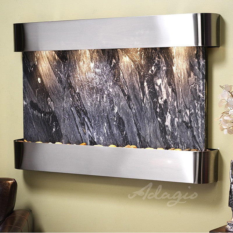 Sunrise Springs: Black Spider Marble and Stainless Steel Trim with Rounded Corners