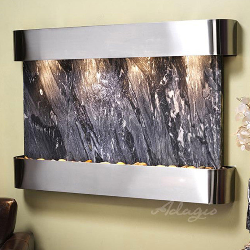 Sunrise Springs: Black Forest Marble and Stainless Steel Trim with Rounded Corners