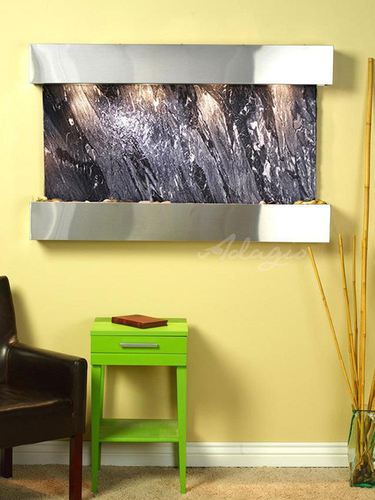Sunrise Springs - Black Spider Marble - Stainless Steel - Squared Corners - Soothing Walls