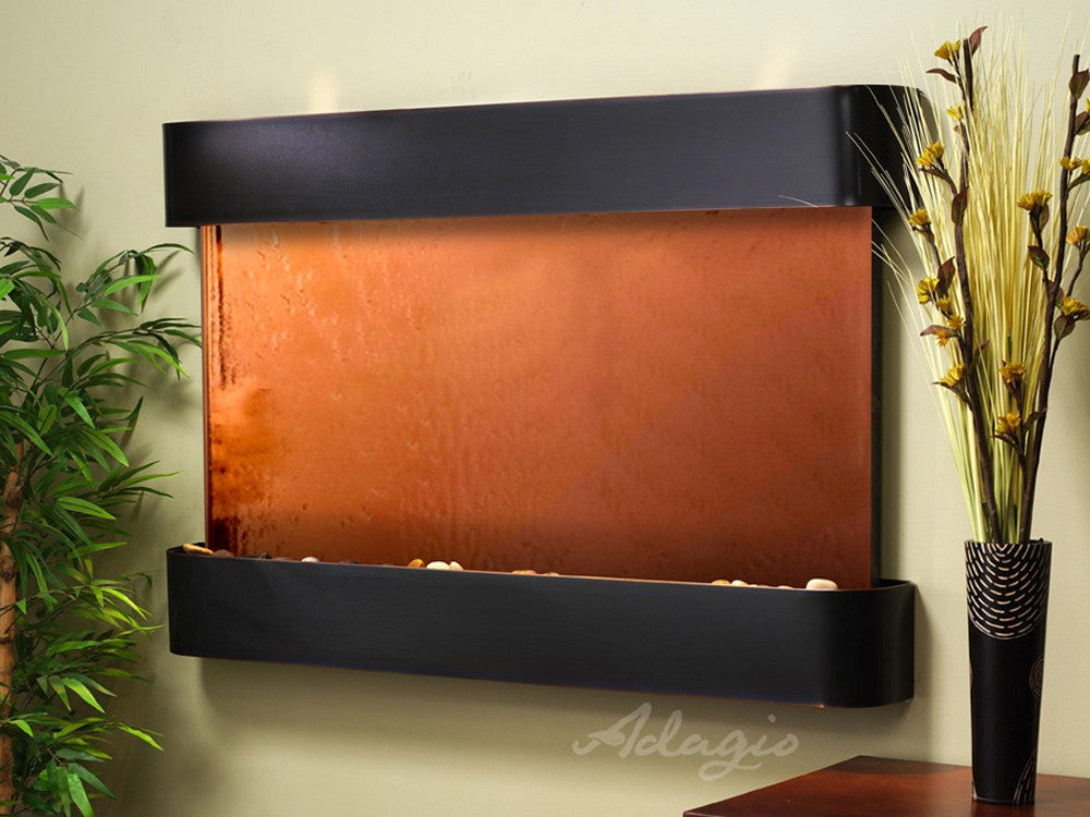 Sunrise Springs - Bronze Mirror - Blackened Copper - Rounded Corners - Soothing Walls