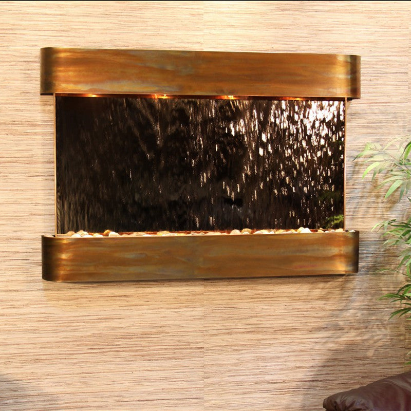 Sunrise Springs - Bronze Mirror - Rustic Copper - Rounded Corners - Soothing Walls