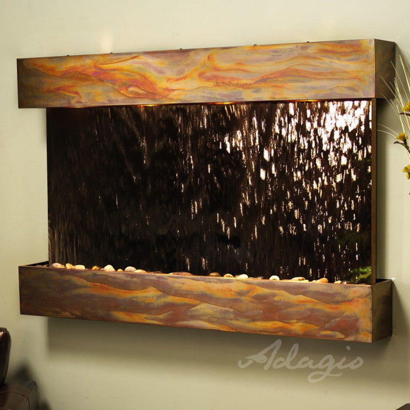 Sunrise Springs - Bronze Mirror - Rustic Copper - Squared Corners - Soothing Walls