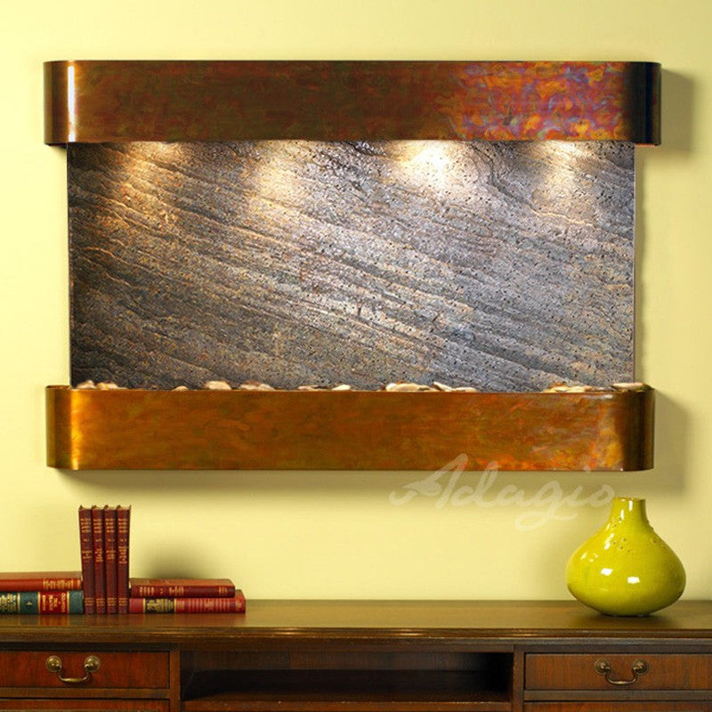 Sunrise Springs - Green FeatherStone - Rustic Copper - Rounded Corners - Soothing Walls