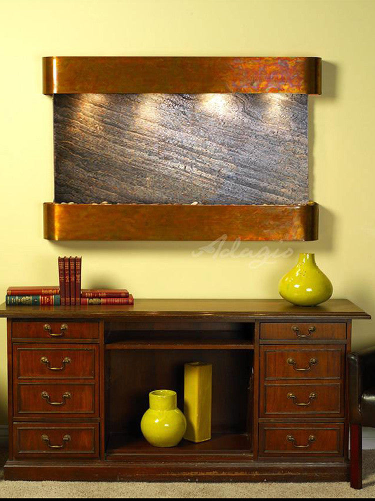 Sunrise Springs: Green FeatherStone and Rustic Copper Trim with Rounded Corners
