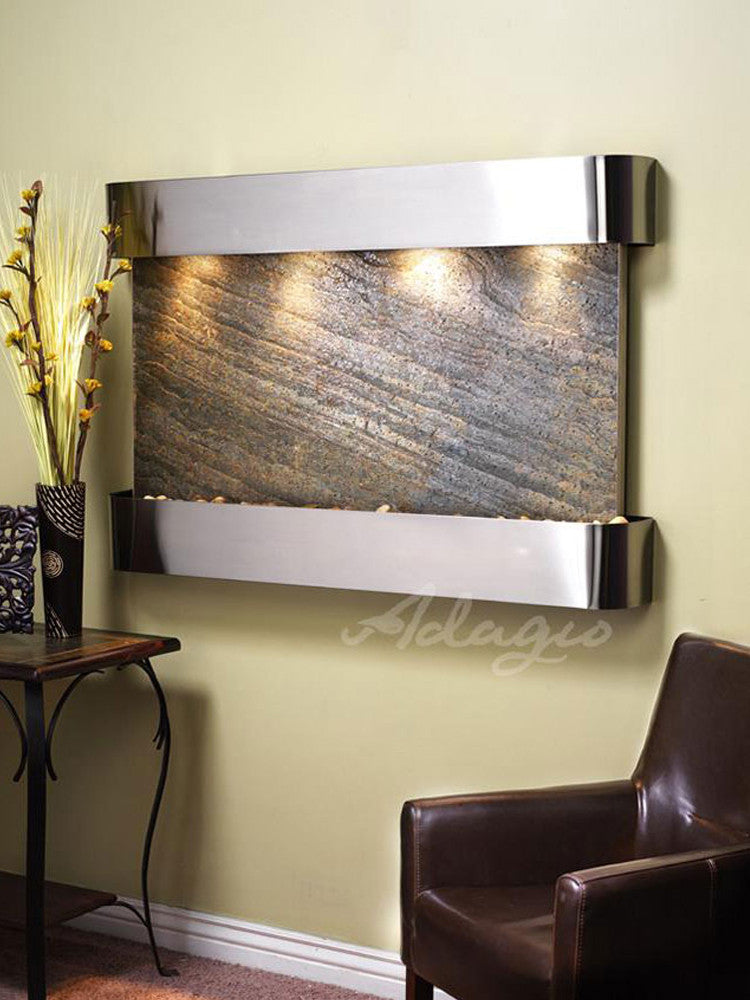 Sunrise Springs - Green FeatherStone - Stainless Steel - Rounded Corners - Soothing Walls